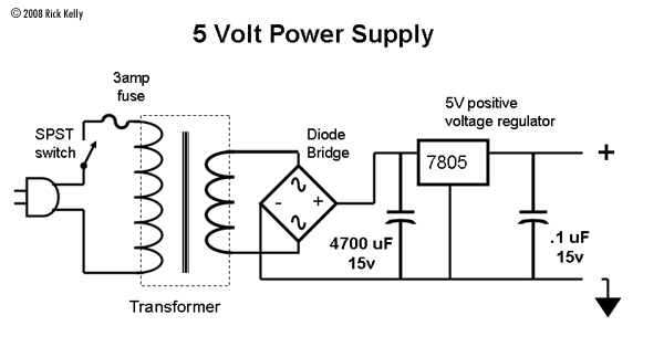 circuit diagram 5 volt power supply block diagram of 5 volt power supply